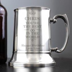Hampers and Gifts to the UK - Send the Engraved Best in the World Stainless Steel Tankard