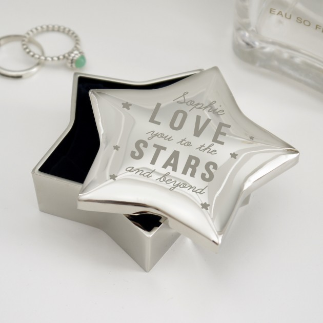 Hampers and Gifts to the UK - Send the Engraved Love You to the Stars Trinket Box