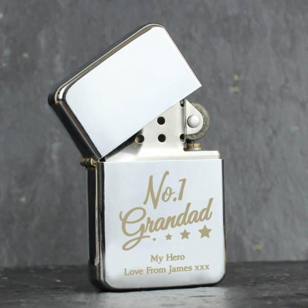 Hampers and Gifts to the UK - Send the Engraved No.1 Granddad Silver Zippo Lighter