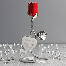 Hampers and Gifts to the UK - Send the Engraved Together Forever Rose Bud Ornament