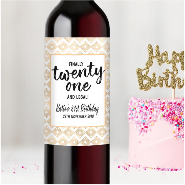 Hampers and Gifts to the UK - Send the  Personalised Finally Twenty One! 21st Birthday Wine Bottle Gift