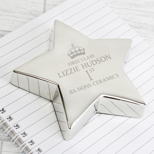Hampers and Gifts to the UK - Send the Personalised 1st Class Star Paperweight