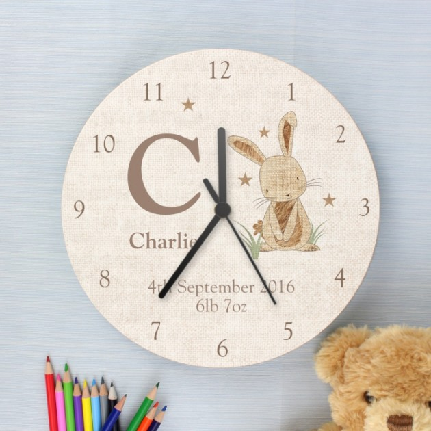 Hampers and Gifts to the UK - Send the Personalised Hessian Bunny Wooden Clock