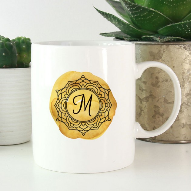 Hampers and Gifts to the UK - Send the Personalised Gold Monogram Mug