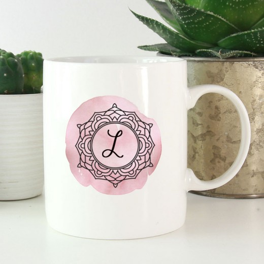 Hampers and Gifts to the UK - Send the Personalised Pink Monogram Mug