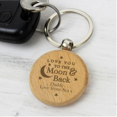 Hampers and Gifts to the UK - Send the Personalised Love You to the Moon and Back Keyring