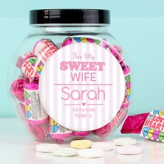 Hampers and Gifts to the UK - Send the Personalised Sweets Jar - My Sweet Wife