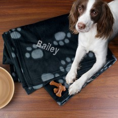 Hampers and Gifts to the UK - Send the Personalised Dog Fleece Blanket - Blue Paws