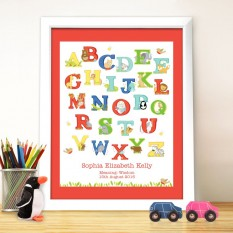 Hampers and Gifts to the UK - Send the Personalised Animal Alphabet Framed Print