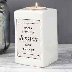 Hampers and Gifts to the UK - Send the Personalised Any Message Ceramic Candle Holder