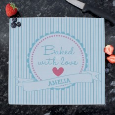 Hampers and Gifts to the UK - Send the Personalised Baked With Love Chopping Board