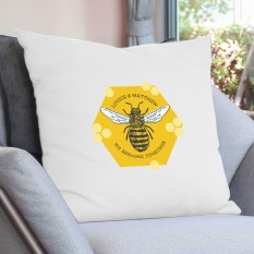 Hampers and Gifts to the UK - Send the Personalised Bee Cushion COVER