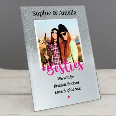Hampers and Gifts to the UK - Send the Personalised Glitter Glass #Besties Frame