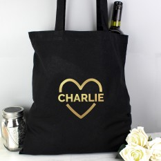 Hampers and Gifts to the UK - Send the Personalised Black and Gold Heart Tote Bag