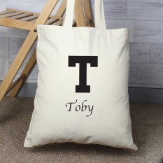 Hampers and Gifts to the UK - Send the Personalised Black Initials Tote Bag