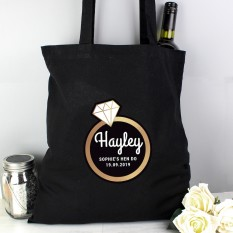 Hampers and Gifts to the UK - Send the Personalised Bling Ring Hen Party Tote Bag