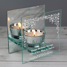 Hampers and Gifts to the UK - Send the Personalised Diamante Glass Tea Light Candle Holder