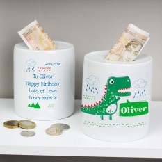 Hampers and Gifts to the UK - Send the Personalised Dinosaur Money Box