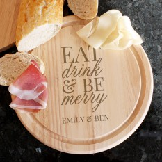 Hampers and Gifts to the UK - Send the Personalised Eat Drink & Be Merry Chopping Board