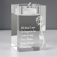 Hampers and Gifts to the UK - Send the Personalised Elegant Rose Glass Tea Light Candle Holder