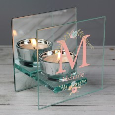 Hampers and Gifts to the UK - Send the Personalised Floral Bouquet Glass Tea Light Candle Holder