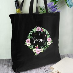 Hampers and Gifts to the UK - Send the Personalised Floral Wreath Black Tote Bag