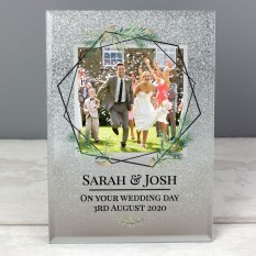 Hampers and Gifts to the UK - Send the Personalised Glittery Geometric Leaves Photo Frame