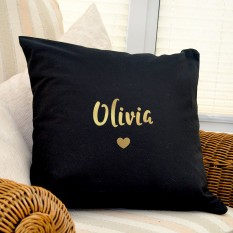 Hampers and Gifts to the UK - Send the Personalised Gold & Black Cushion COVER