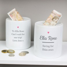 Hampers and Gifts to the UK - Send the Personalised Heart Money Box