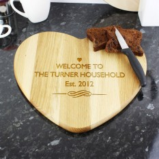 Hampers and Gifts to the UK - Send the Personalised Heart Shaped Chopping Board