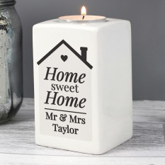 Hampers and Gifts to the UK - Send the Personalised Home Sweet Home Ceramic Candle Holder