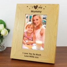 Hampers and Gifts to the UK - Send the Personalised I Heart My Wooden Photo Frame