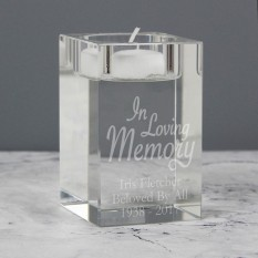 Hampers and Gifts to the UK - Send the Personalised In Loving Memory Glass Tea Light Candle Holder