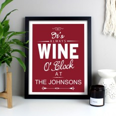 Hampers and Gifts to the UK - Send the Personalised It's Always Wine O'Clock Framed Print