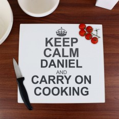 Hampers and Gifts to the UK - Send the Personalised Keep Calm Chopping Board