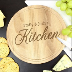 Hampers and Gifts to the UK - Send the Personalised Kitchen Round Chopping Board