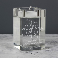 Hampers and Gifts to the UK - Send the Personalised Light Up My Life Glass Tea Light Candle Holder