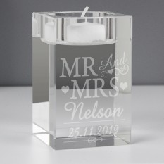 Hampers and Gifts to the UK - Send the Personalised Mr & Mrs Glass Tea Light Candle Holder