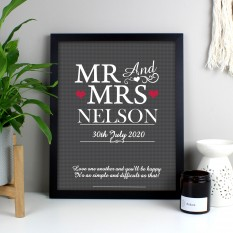 Hampers and Gifts to the UK - Send the Personalised Mr & Mrs Heart Framed Print