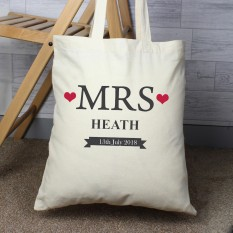 Hampers and Gifts to the UK - Send the Personalised Mrs Wedding Tote Bag