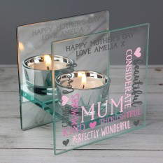 Hampers and Gifts to the UK - Send the Personalised Mum Glass Tea Light Candle Holder