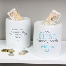Hampers and Gifts to the UK - Send the Personalised 'My First' Blue Money Box