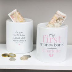 Hampers and Gifts to the UK - Send the Personalised 'My First' Pink Money Box