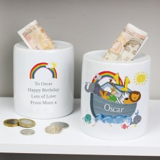 Hampers and Gifts to the UK - Send the Personalised Noah's Ark Money Box