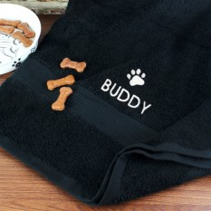 Hampers and Gifts to the UK - Send the Personalised Dog Bath Towel - Paw Print