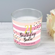 Hampers and Gifts to the UK - Send the Personalised Pink and Gold Birthday Glass Candle
