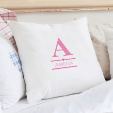 Hampers and Gifts to the UK - Send the Personalised Pink Initials Cushion COVER