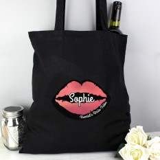 Hampers and Gifts to the UK - Send the Personalised Pink Lips Hen Party Tote Bag