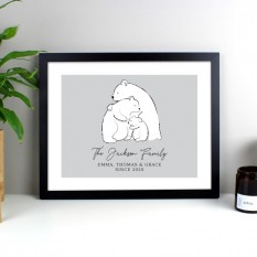 Hampers and Gifts to the UK - Send the Personalised Polar Bear Family Framed Print