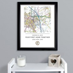 Hampers and Gifts to the UK - Send the Personalised Present Day Map Framed Print
